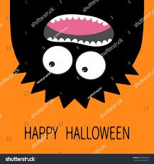 happy halloween card monster head silhouette stock vector happy halloween card monster head silhouette two eyes teeth tongue hanging