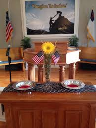 Decorative Flags For The Home Church Communion Table Decorated For Memorial Day Holiday Time