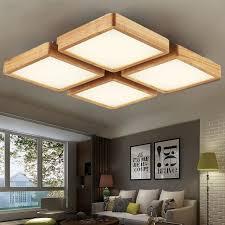 Wooden Light Fixtures Square Wood Ceiling L Led Lights Wooden Grain Led Ceiling Ls