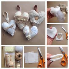 diy shabby chic padded hearts the crafty mummy