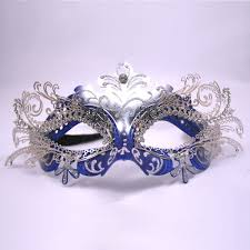 blue masquerade masks blue and silver decorative metal venetian mask