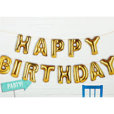 happy birthday balloon gold happy birthday foil balloon party banner pipii