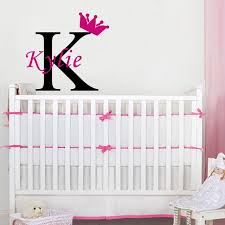 initial home decor personalized girls name crown monogram wall stickers initial letter