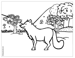 a and a boy are walking in the christmas forest coloring page
