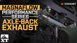 jeep wrangler performance exhaust jeep wrangler magnaflow performance series axle back 2007 2017 jk