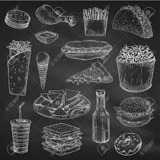 fast american food sketch on chalkboard or blackboard chalk