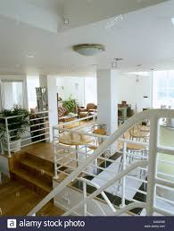 Metal Banisters White Metal Banisters On Wooden Stairs To Modern Open Plan Living