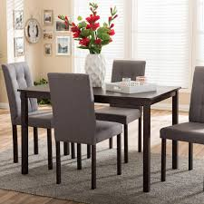 Dining Room Sets With Fabric Chairs Baxton Studio Andrew 9 Grids 5 Piece Gray Fabric Upholstered