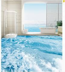 Painting A Bathroom Floor - 3d floor wallpapers seawater spray bathroom floor waterproof floor