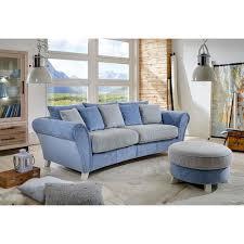 couch mit hocker xxl couch mevrinus mit hocker in blau beige wohnen de