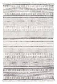 White Cotton Rug Handmade Flatweave Textured Stripes Cotton Fringe Area Rug