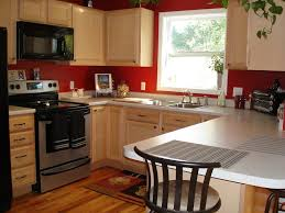 Red Laminate Flooring Furniture Kitchen Red Wall Paint With White Wooden Oak