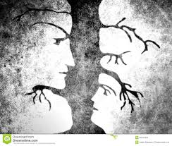 man and woman faces in tree stock illustration image 65241004