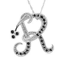 black necklace with gold images Buy 14k white gold initial r black diamond pendant necklace online jpg