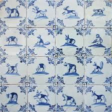 antique dutch delft wall tiles with animals in blue 17th century