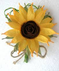 sunflower boutonniere crepe paper flowers wedding sunflower decor