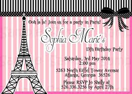 invitations for 13th birthday party paris birthday invitations invitation ideas
