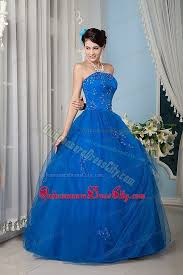 royal blue strapless a line floor length sweet 16 dresses with
