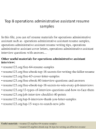 Executive Assistant Resume Templates Top 8 Operations Administrative Assistant Resume Sles 1 638 Jpg Cb 1431822374