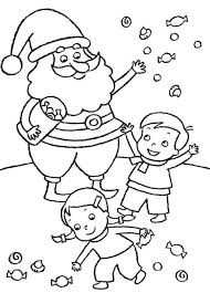 santa and kids pictures kids playing with santa claus coloring
