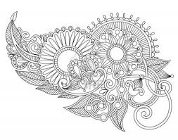 traditional design hand draw line art ornate flower design ukrainian traditional style
