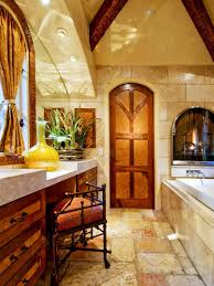 charming tuscan bathroom interior decor showing subway wall and