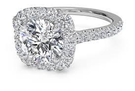 Cushion Cut Halo Diamond Engagement Ring In Platinum Round Cut French Set Halo Diamond Band Engagement Ring In Platinum
