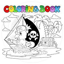 cartoon coloring book pirate parrot by clairev toon vectors eps