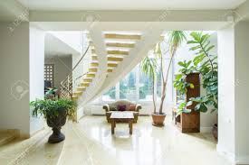 Contemporary Luxury Mansion Interior With Spiral Stairs Stock