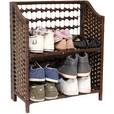 Hallway Shoe Cabinet by Folding Shoe Rack Organiser Wicker Raffia Hallway Porch 2 Tier