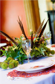 Table Decorations With Feathers Dining Room Autumn Table Decorations With Place Setting And
