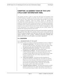 chapter 3 a guided tour of the life cycle cost estimation tool