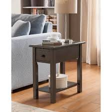 sutton brushed grey wood mdf side table with charging station