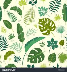 green repeating halloween background vector seamless pattern tropical leaves palm stock vector