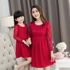 christmas lace dress girls party dress mother daughter dresses