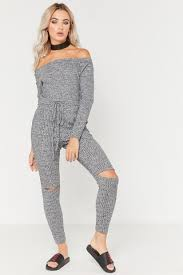 lounge jumpsuit grey ribbed split knee bardot lounge jumpsuit misspap co