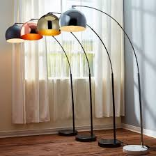 versanora arquer arc floor lamp with rose gold finished shade