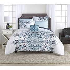 mainstays aqua medallion bed in a bag bedding set