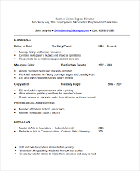 Free And Easy Resume Templates Chronological Resume Template 23 Free Samples Examples Format