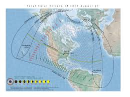 Map 0f America by Total Eclipse Of The Sun August 21 2017