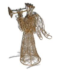 Collectible Home Decor Collectible 13 Free Standing Gold Wire Angel Trumpet Herald