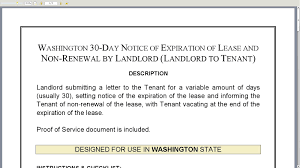 Notice To Terminate Tenancy Sample by Washington 30 Day Notice Of Expiration Of Lease And Non Renewal By
