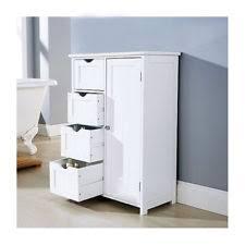 4 drawer bathroom cabinet storage unit wooden chest cupboard white