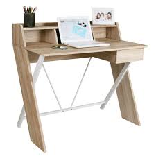 oak effect computer desk with backboard and white metal frame