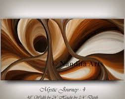 Contemporary Art Home Decor Brown Wall Art Abstract Painting Oil Home Decor Wave Oil