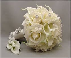 wedding flowers silk silk wedding bouquet white calla lilies and white roses