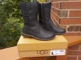 ugg s kaleen boot nwb ugg kaleen black waterproof leather shearling mid calf boots