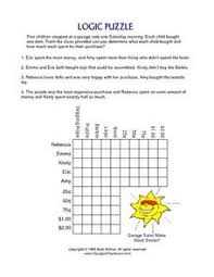 Printable Logic Puzzles Logic Puzzle Shopping At A Garage Sale 4th 5th Grade Worksheet