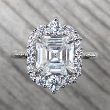 asscher cut diamond engagement rings forever one asscher cut moissanite engagement ring u0026 diamond halo