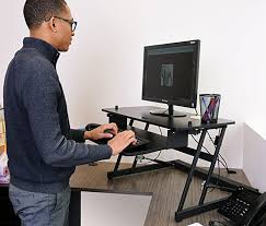 Ideal Height For Standing Desk Amazon Com Ivation Standing Desk With Dual Surfaces Sized